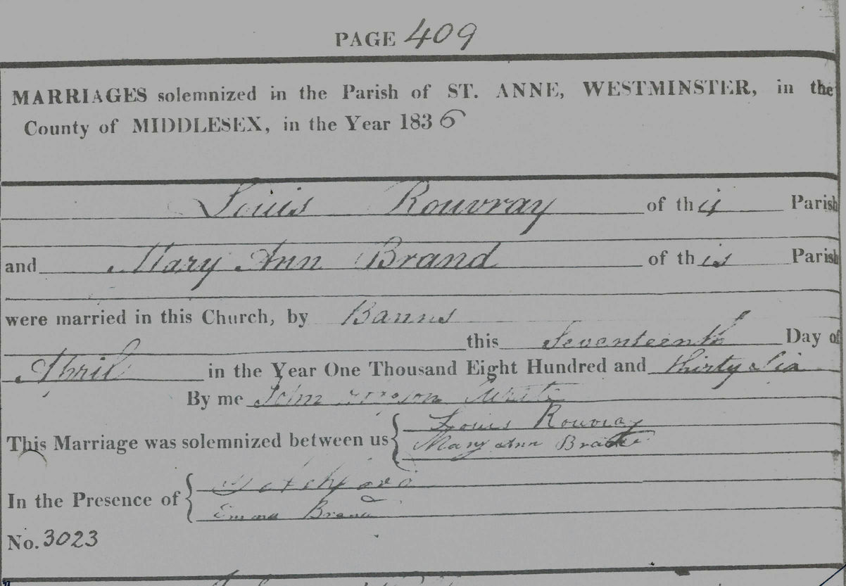 Louis Rouvary marriage certificate